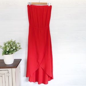 Splendid Red Sleeveless Hi Low Midi Dress #454
